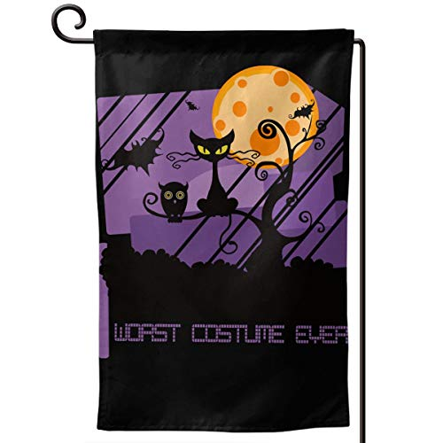 Worst Costume Ever Halloween Scared Black Cat Double Sided Yard Decor Double Stitched Holiday Garden Flag 12.5 X 18 Inches (Three Styles)