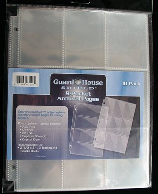 Trading Card Set Sleeves (9 Pocket Trading / Sports / Baseball Card Pages PACK of 10 GuardHouse Shield)