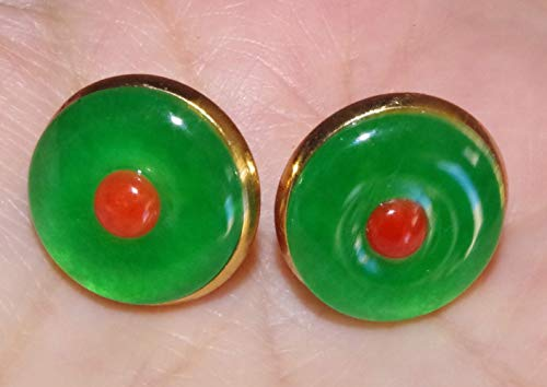 15 MM ROUND GREEN JADE & 4mm ITALIAN RED CORAL 14K GF STUDS (14k Coral Earrings)