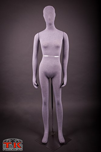 Female Mannequin, Flexible Posable Bendable Full-size Soft -Grey, by TK Products, Great for -