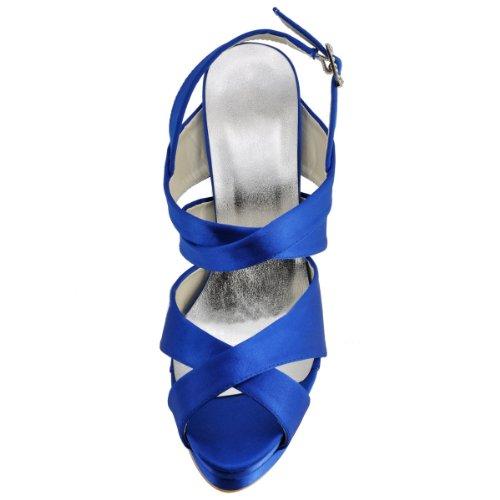 Minitoo GYMZ731 Womens Handmade Platform Stiletto High Heel Peep Toe Satin Evening Party Bridal Bridesmaid Wedding Strap Sandals Shoes Blue oJbvXtbB