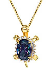 Turtle Pendant Necklace 18K Gold Plated & Cubic Zirconia Lovely Animal Jewelry