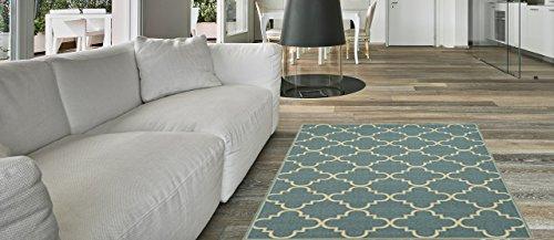 Anti Bacterial Rubber Back AREA RUGS Non Skid/Slip 3x5 Floor Rug | Ocean  Blue Moroccan Trellis Indoor/Outdoor Thin Low Profile Living Room Kitchen  Hallways ...