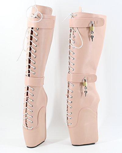 WONDERHEEL Wedge Heel Fetisch Matte Pink Langschaft Laceup Padlocks Ballett Stiefel