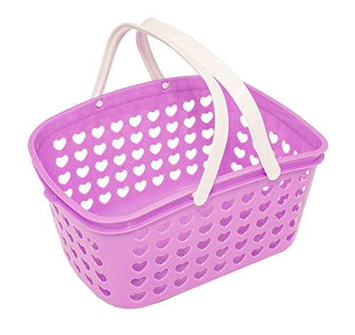 torage Basket with Handles and Holes - Small Bin for Shower, Closet, Kitchen, Garden, Bathroom, Toys, Candy by Valenoks (Lilac) ()