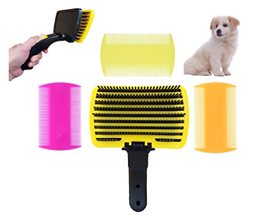 FurBetter & FurBest Pet Grooming Collection - Dematting Deshedding Tool for Loose Undercoat Tangles Mats and Knots - Rake Brush Comb for Dog Fur & Cat Hair (Yellow Self Clean Brush + 3 Combs Pack)