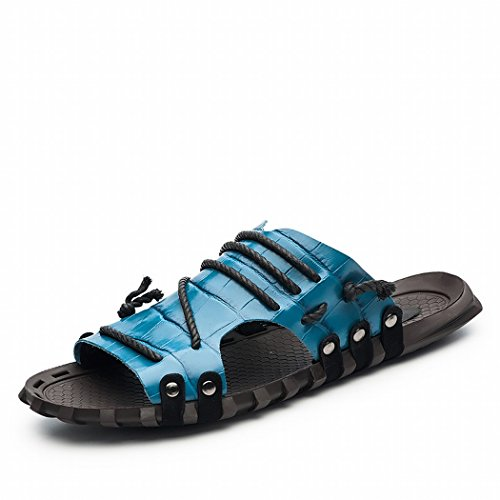 Slide Model 7551 Outdoor Casual Sandal Blue Mens's Leather SAMSAY qfYpx1IZ
