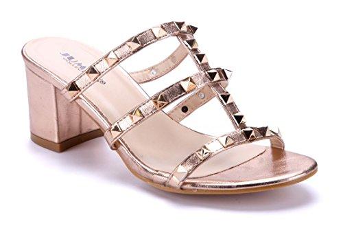 Schuhtempel24 Damen Schuhe Pantoletten Sandalen Sandaletten Blockabsatz Nieten 7 cm Bronze