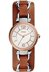 Fossil Women's ES3855 Georgia Artisan Three-Hand Watch With Dark Brown Leather Cuff