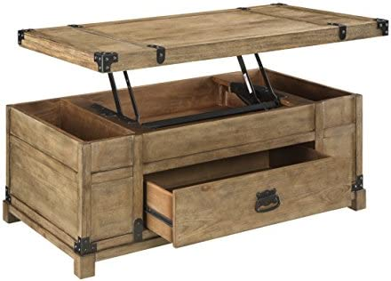 Treasure Trove Accents Lift Top Cocktail Table, 43.5 x 23.5 x 18 , Natural