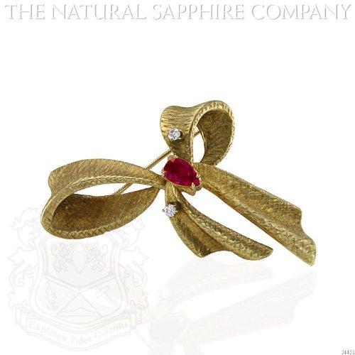 18K Yellow Gold, Ruby and Diamond Bow Brooch. (J4451) 18k Ruby Brooch