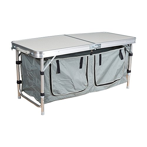 (Dporticus Lightweight Height Adjustable Foldable Camping Table with Large 2 Compartment Storage Bag for BBQ Party Camping Home Kitchen (Only))