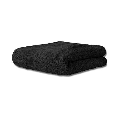 Flauschiges Duschtuch | 13 moderne Farben und viele Größen | Badetuch 100% Baumwolle Frottee Qualität, ca. 500g/m² | 70 x 140 cm | Serie Bari | CelinaTex 0001368 | schwarz