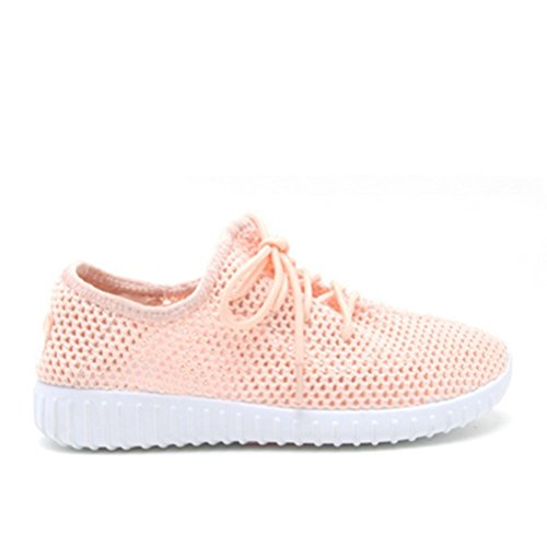 Qupid Womens Roekeloos-02 Knit Lace Up Sneakers Lichtroze