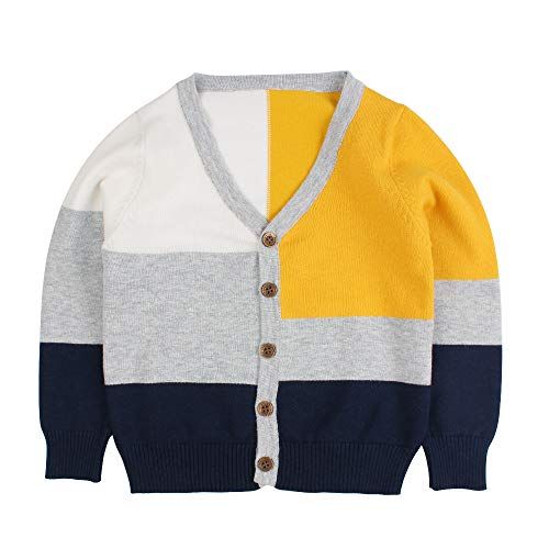Little Kid Boy Girl Knit Sweater Cardigan Baby V-Neck Button Up Sweatshirt Coat 1-7t