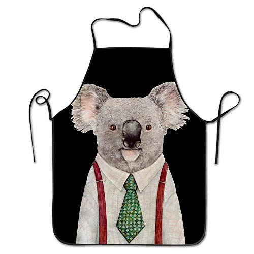 Dinzisalugg Cute Apron Cyte Mr Koala with Green Tie and White Shirt Women Bib Kitchen Apron Cotton Canvas Machine Washable Cartoon Cute Art Printing Size 72CM x 52CM -