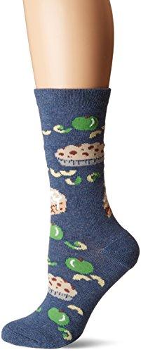K. Bell Women's Celebrating Americana Crew Socks-Made in USA, Apple Pie (Blue), Shoe Size: 4-10