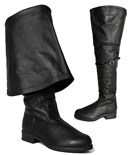 SharpSpirit Leather Renaissance Faire Over The Knee Tall Men's Boots 14 Black