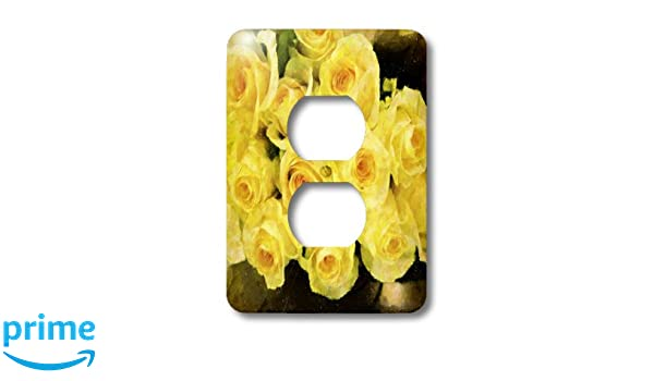 3dRose lsp/_35333/_6 Two Plug Outlet Cover with Yellow Roses Impression
