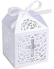 SODIAL 50PCS lasing Cut Favor Boxes, Party Boxes with 50 Ribbons for Baby Shower Favors Baptism Decorations(Cross)