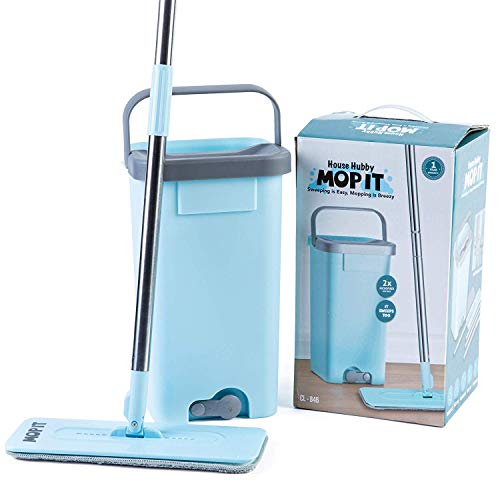 Flat Squeeze Mop and Bucket Set with Microfiber Pads for Kitchen, Bathroom, Home - Self Wringing Mop System Includes Reusable Washable Microfiber Pads Perfect For Hardwood Floor, Tile, Dust, Pet Hair