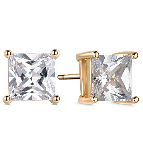 GULICX Yellow Gold Tone White CZ Clear Zircon Rhinestone Stud Earrings for Women Girl