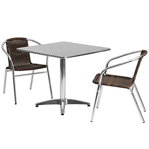 Flash Furniture Square Aluminum Indoor Outdoor Table with 2 Rattan Chairs, 31.5'' ()