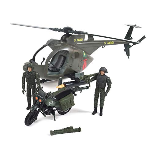 Elite Force Army Strike MH-6 Spec Ops Little Bird Vehicle with Helicopter, Motorcycle, and 2 Action Figures