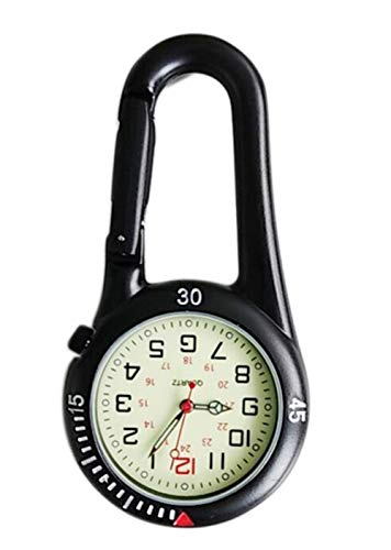 Clip On Fob Watch Outdoor Quartz Watches Carabiner Watches Come with Extra Battery (Black)