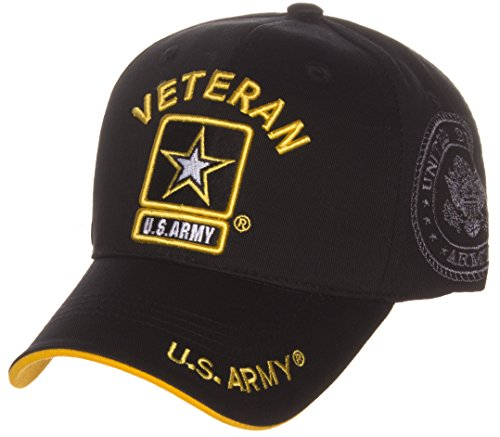US Army Official License Structured Front Side Back and Visor Embroidered Hat Cap - Veteran Black