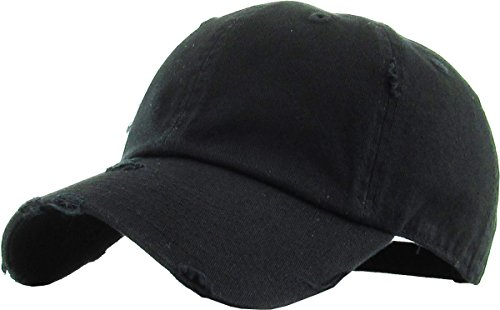 H-218-D06 Distressed Dad Hat Vintage Low Profile Polo Style Baseball Cap - Black