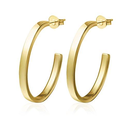 Gold Half Circle Dangle Earrings Circle Bar Earrings Half Hoop Earrings for Women (GOLD)