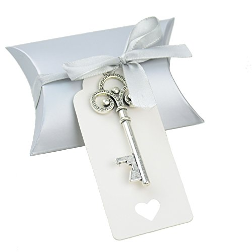 Cheap Aokbean 50pcs Vintage Skeleton Key Bottle Openers Wedding Favor Souvenir Gift Set Pillow Candy Box Escort Gift Card Thank You Tag French Ribbon (Silver)