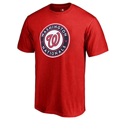 Outerstuff MLB Youth 8-20 Team Color Cool Base Polyester Performance Primary Logo T-Shirt (Medium 10/12, Washington Nationals)