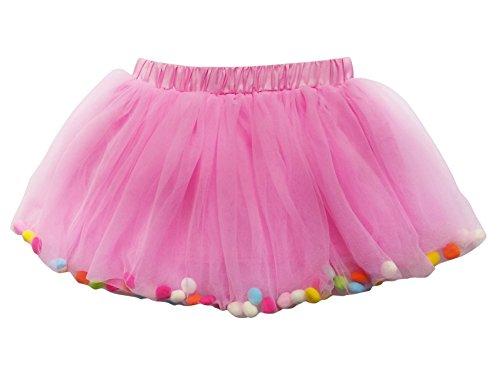 So Sydney Toddler Kids Size POM POM Tutu Skirt Birthday Costume Dress up (L (5-8+ Years), -