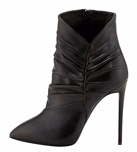 SYYAN black 44 Cheville Noir Bottes Femmes Pointu Cuir Bxw1rROqB