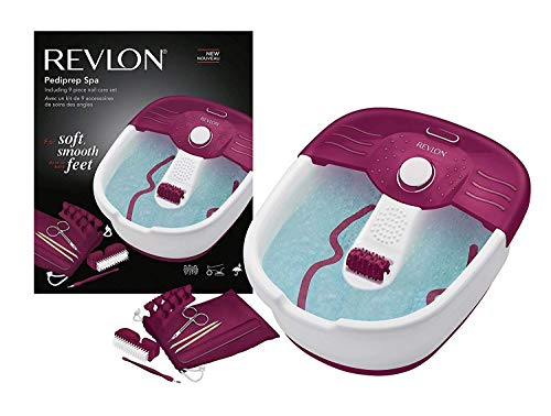 Revlon RVFB7021PUK Relaxing Bubbling Massage Pediprep Foot Spa with 9 Pieces Nail Care Set by Revlon