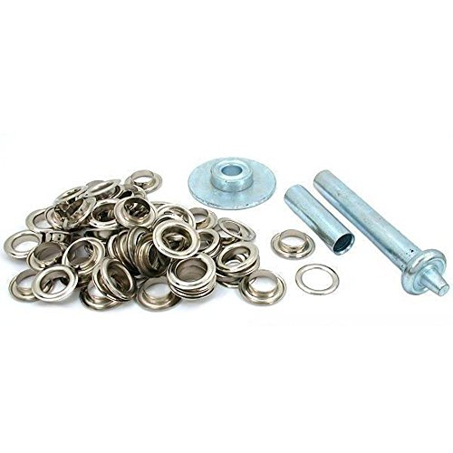 50 Punch Grommets Leatherworking Tent Fabric Tool Kit by Generic (Silver Grommets)