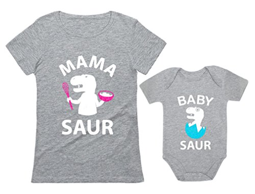 Tstars Mama Saur - T-Rex Mom & Baby Saur T-Rex Baby Matching Set Mother's Day Gift Mom Gray Large/Baby Gray 6M (3-6M) Son Gift Set