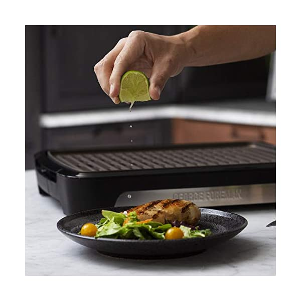 George Foreman 25850-56 Smokeless BBQ Grill, Niente Fumo per utilizzo in casa, Piastra e Vassoio Lavabili in… 6