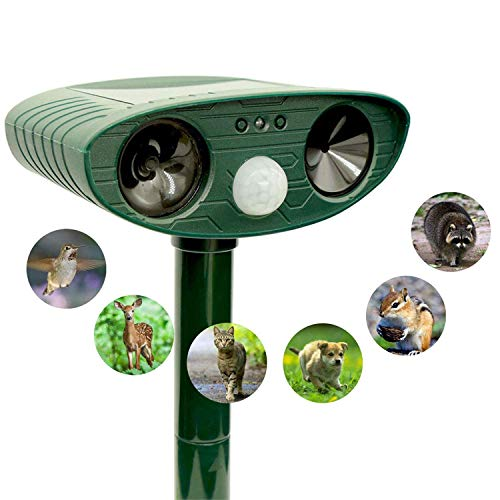 ZOVENCHI Ultrasonic Animal Pest Repeller, Outdoor Solar Powered Pest and Animal Repeller - Effectively Scares Away All Outdoor pests and Animals Such as Dogs, Raccoons ()