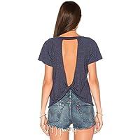 bmjl  Backless De La Mujer Knotted T Camisa Cute parte trasera abierta Camisa parte superior Para Niña Junior