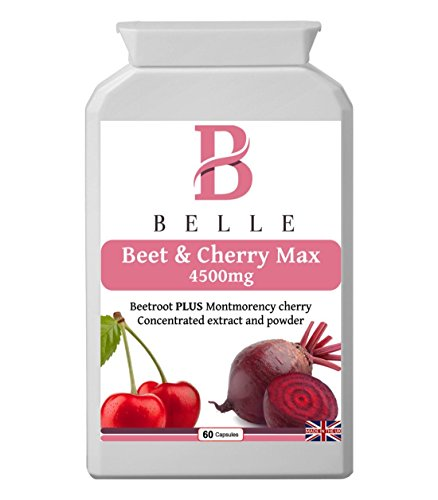 Belle® Beet & Cherry Max 4500mg supplement - with vitamin B6, black pepper powder and turmeric extract protein and glycogen metabolism - Suitable for vegetarians and vegans - 60 capsules
