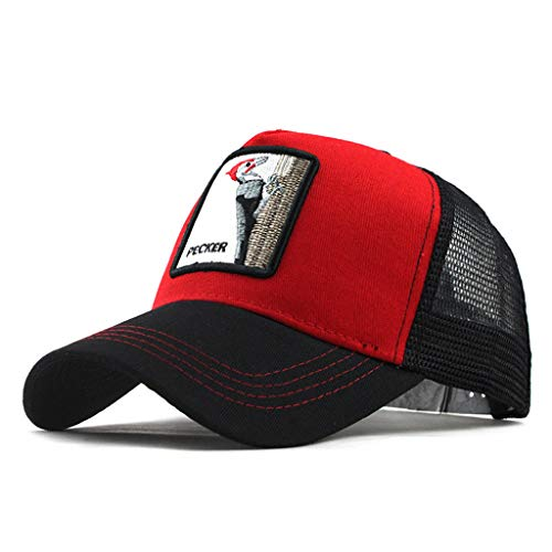 Adjustable Baseball Caps Animal Embroidered Cotton Summer Quick Drying Outdoor Cap for Men, Women by Wabaodan (Red) ()