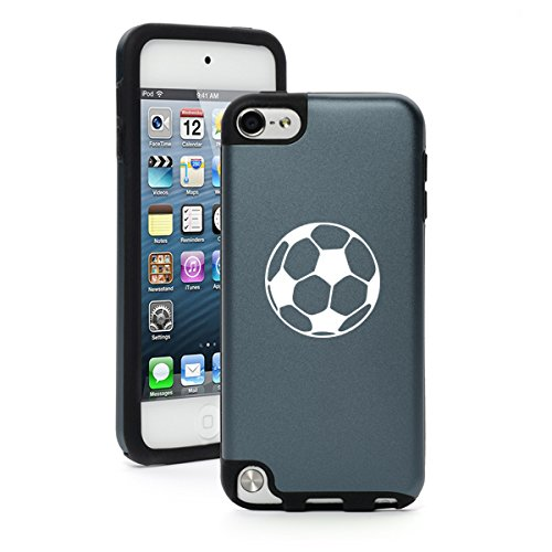 Aluminum Ipod Touch Case - For Apple iPod Touch 5th / 6th Generation Aluminum & Silicone Hard Case Cover Soccer Ball (Silver)