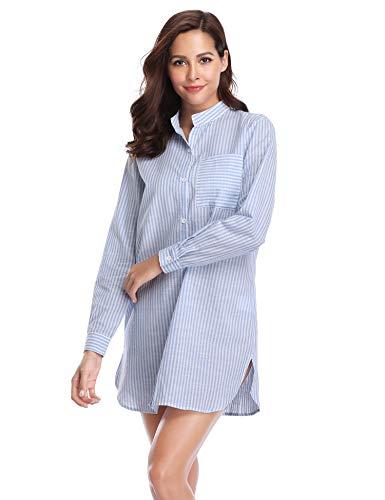 Lusofie Nightshirts for Women Long Sleeve Cotton Nightgown Sexy Boyfriend Top Sleepshirt S-XXL