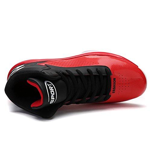 GOMNEAR Männer Leichte Basketballschuhe Outdoor Performance Breathable Sport Turnschuhe rot
