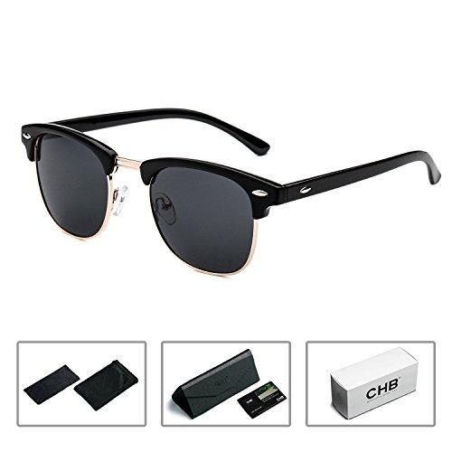 CHB Women's Men's Half Frame Rim Classic Wayfarer Sunglasses Polarized - Wayfarer Half Frame