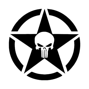 Punisher jeep military star 4 sticker vinyl decal black