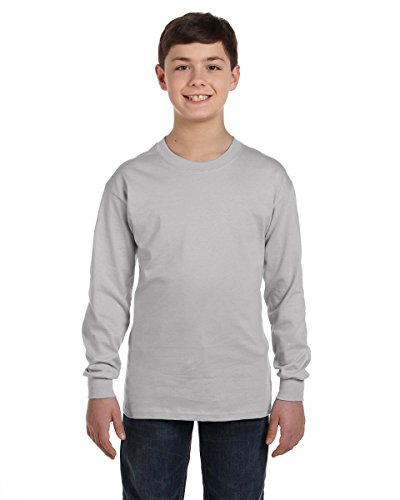 Hanes Youth TAGLESS Long-Sleeve T-Shirt, Light Steel, ()
